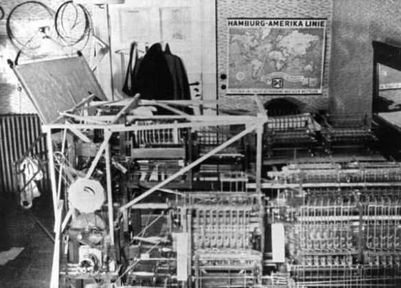 The Z1 constructed by Konrad Zuse in his parents' living room. The Z1 was the first programmable computer made during 1936-1938