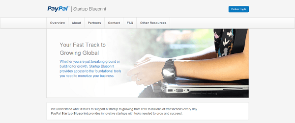 Image of the PayPal Startup Blueprint program, a discount for startups.