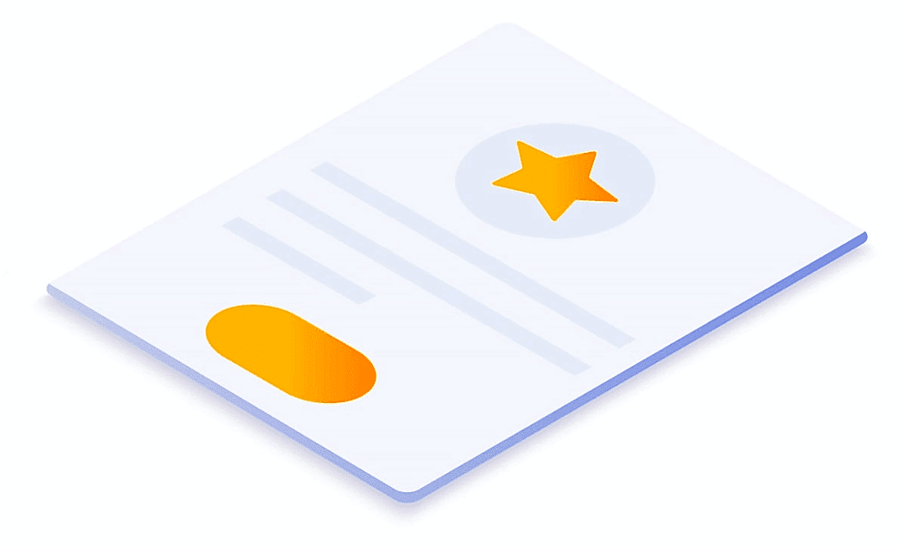Illustration of a document with an orange star.