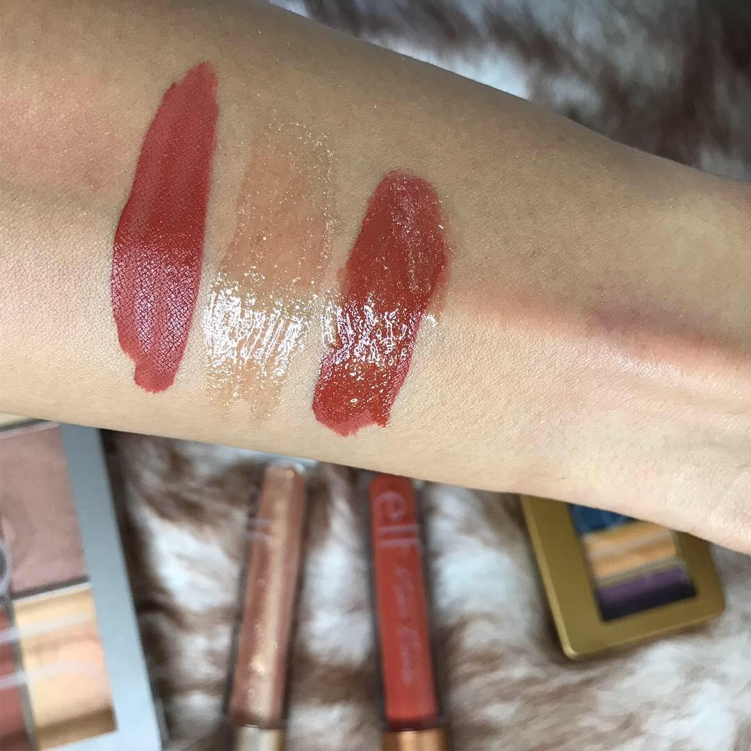 E.L.F. Cosmetics Modern Metals Collection Matte Liquid Lipstick and  Lipgloss Swatches
