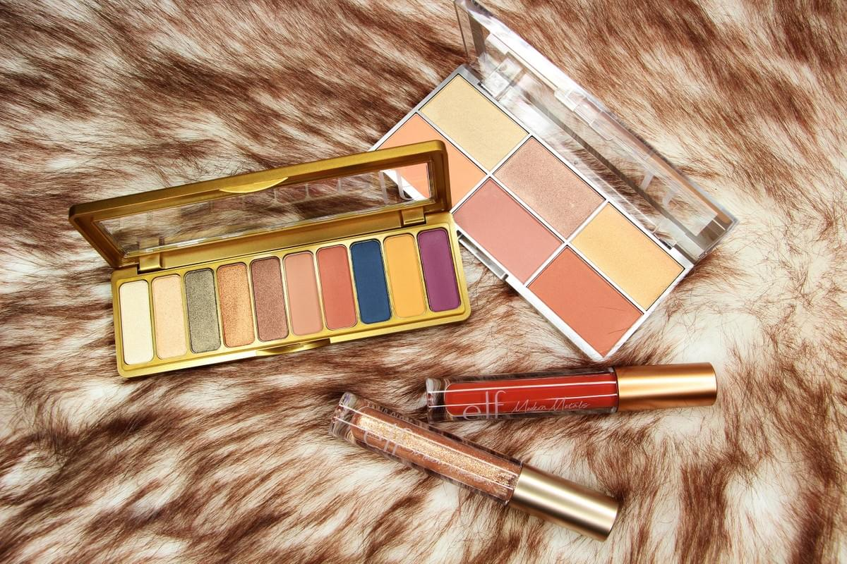 E.L.F. Cosmetics Modern Metals Collection Eyeshadow Palette, Blush & Highlighter Palette, Matte Liquid Lipstick and Shimmer Lipgloss