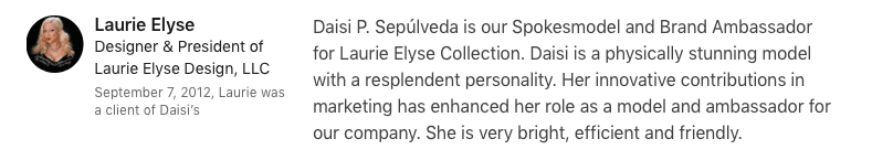 Laurie Elyse Collection Testimonial for Daisi Jo Pollard Sepulveda