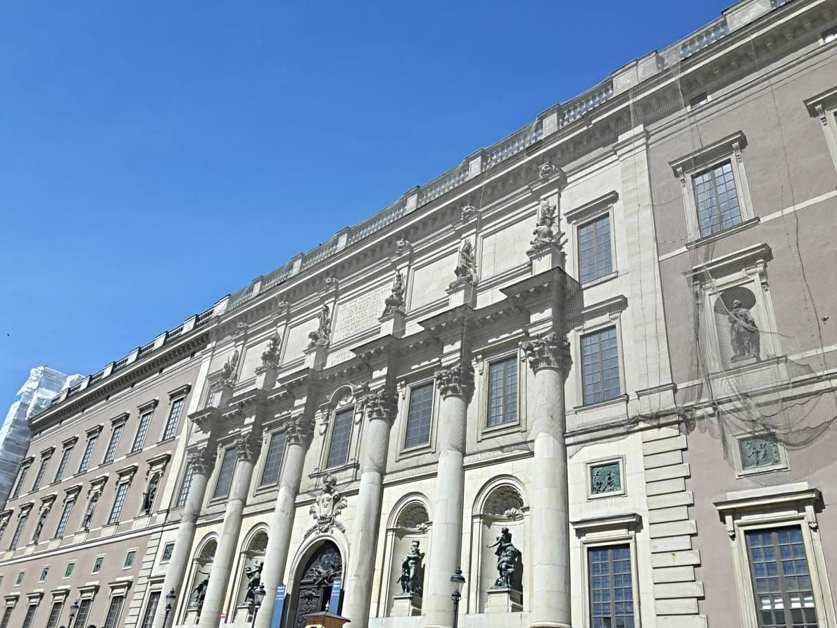 Facade of the royal palace in stockholm