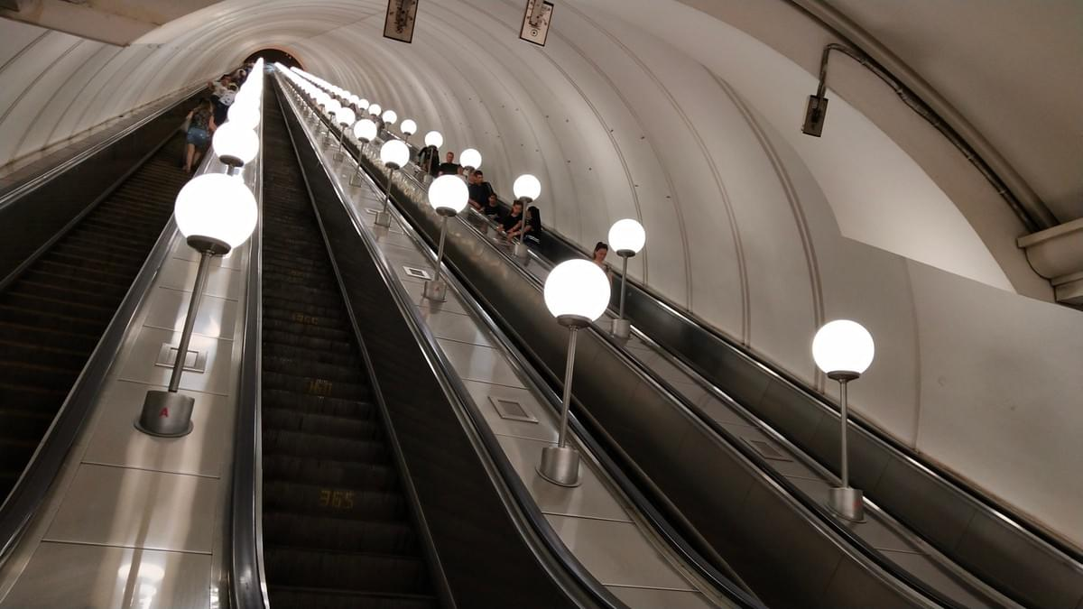 Deepest Escalator at Victory Park Metro Station - Visit Moscow in 2 Days
