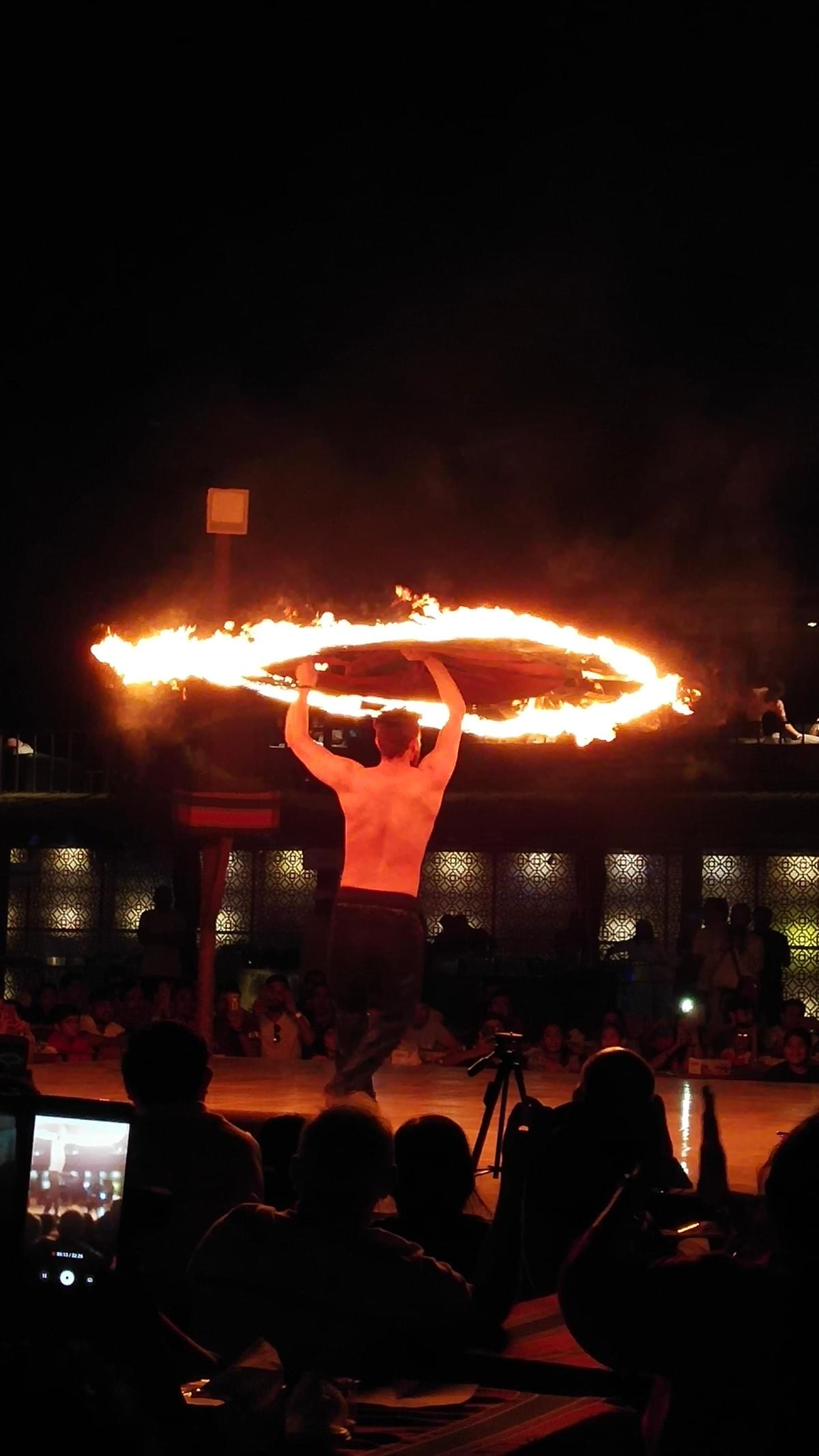 Fire Dancer at Dunes Camp - Places to Visit in Dubai