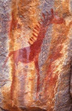 Cave painting in Tsodilo Hills, Namibia