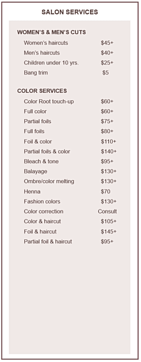 Mark Evans Salon Hair Cut, Color Services and Pricing