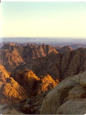 Photo by Mark Vandermaas. Easter sunrise at top of Mount Sinai, 1978