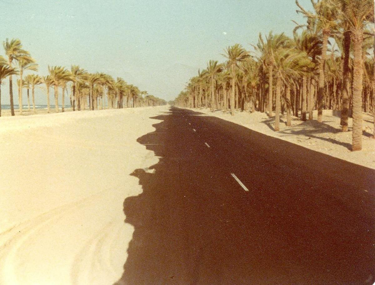 Photo by Mark Vandermaas. 1978 El Arish on way to Gaza. Mediterranean Sea on left.