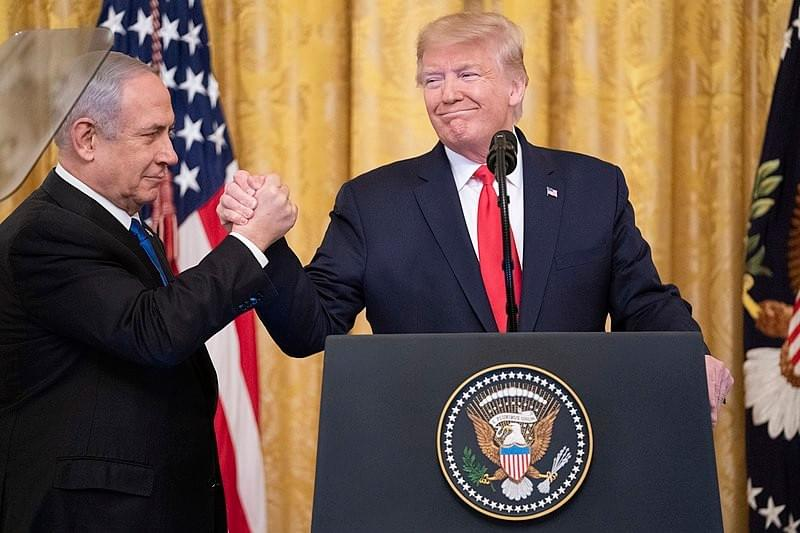 PM of Israel Netanyahu w/US President Trump during announcement of Trump Vision for peace