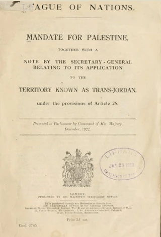 1922 League of Nations Mandate For Palestine, Israel's modern land title deed
