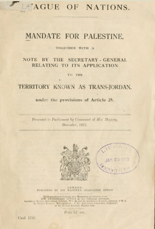 League of Nations: MANDATE FOR PALESTINE, 1922