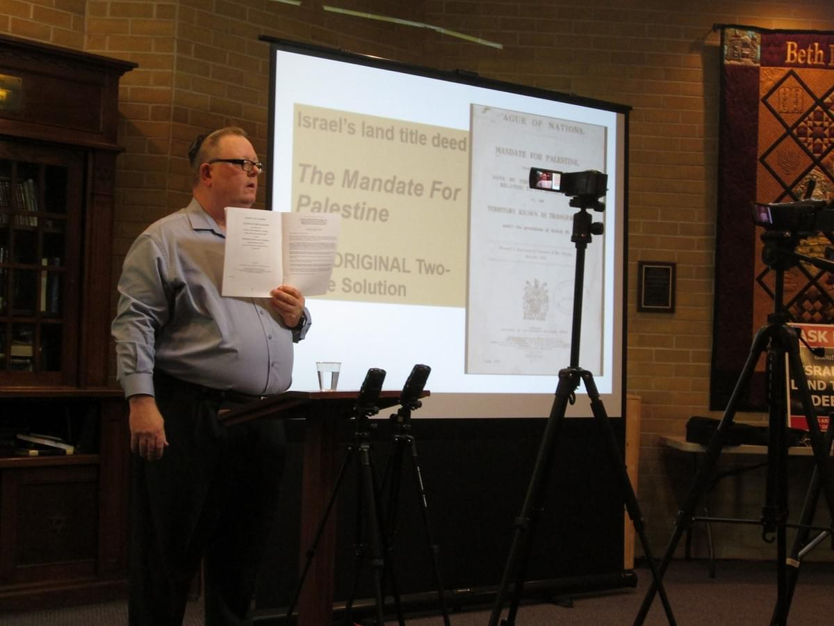 Israel Truth Week founder/trainer Mark Vandermaas conducts his Liberating Israel training at a shul in Kingston, Ontario, Canada
