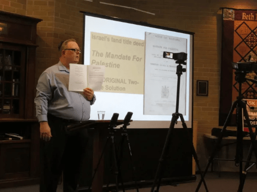 Israel Truth Week's Mark Vandermaas teaches a Kingston synagogue audience about Israel's modern land title deed, the Mandate For Palestine, 2017