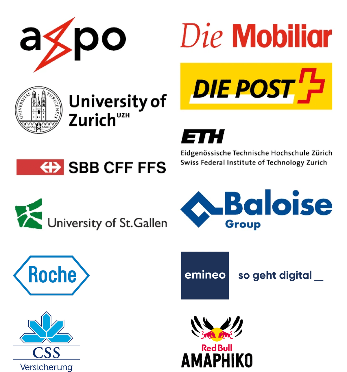 axpo, mobi, mobiliar, uzh, university of zurich, ETH, Post, SBB, Baloise, HSG, University of St. Gallen