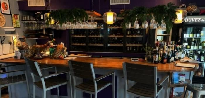 the counter and the wine cooler of ViV Wine Bistro