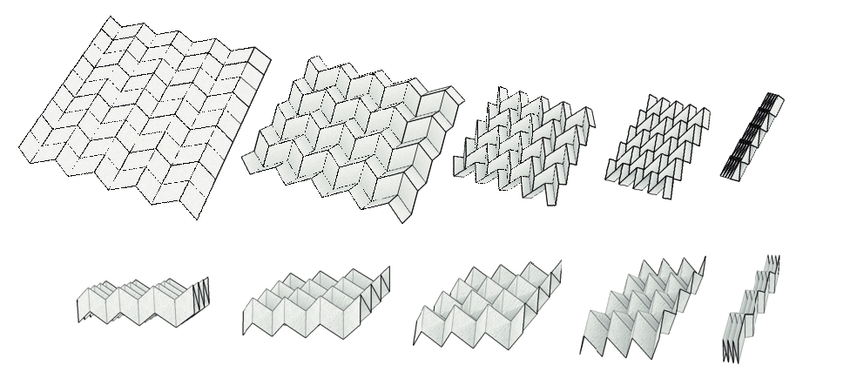 Picture from (https://www.researchgate.net/figure/Folding-motions-of-Miura-ori-Top-and-eggbox-pattern-Bottom_fig1_226548604) and uploaded by Tomohiro Tachi
