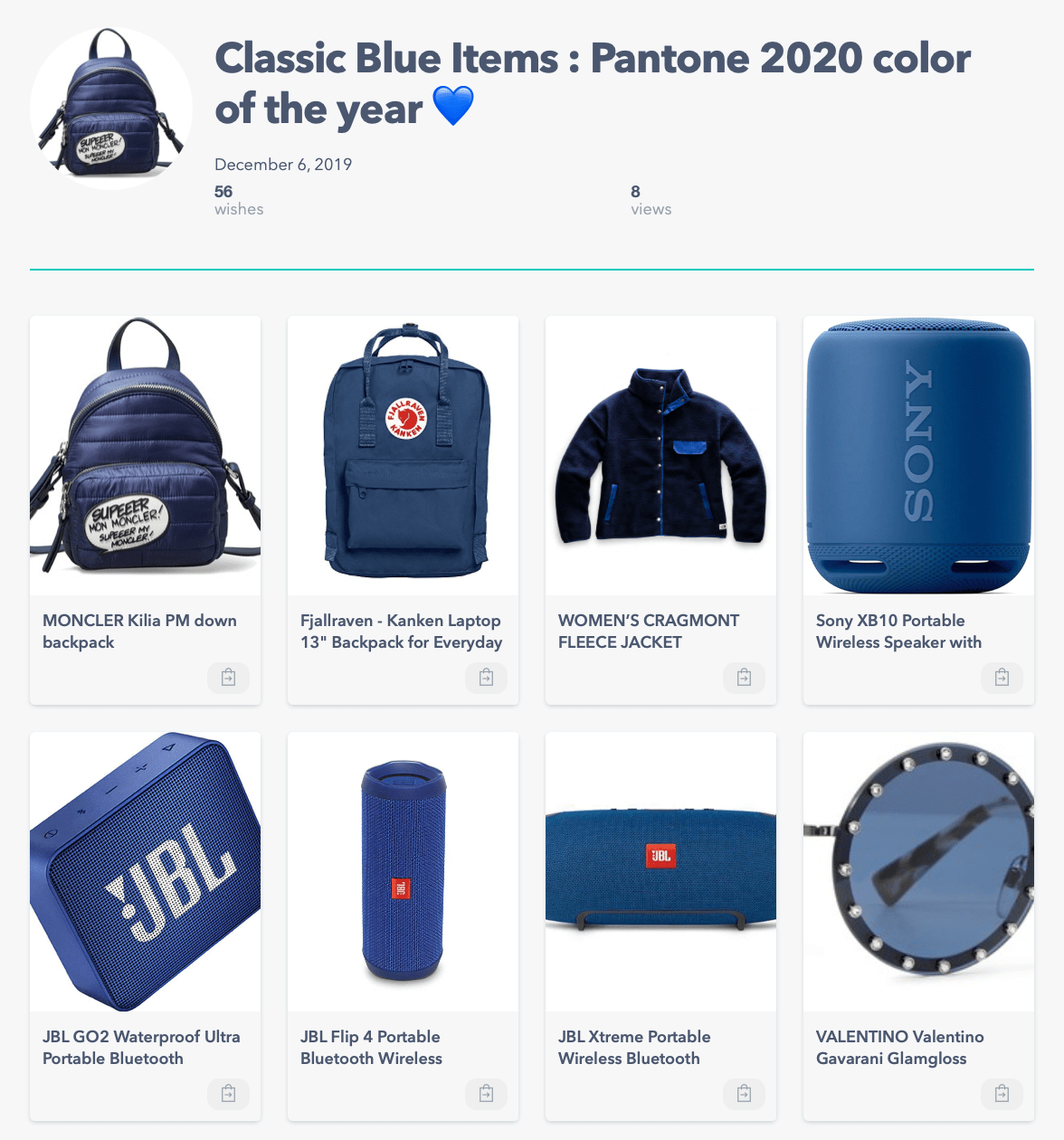 Pantone, color of the year, 2020, classic blue, collection, wish list, item