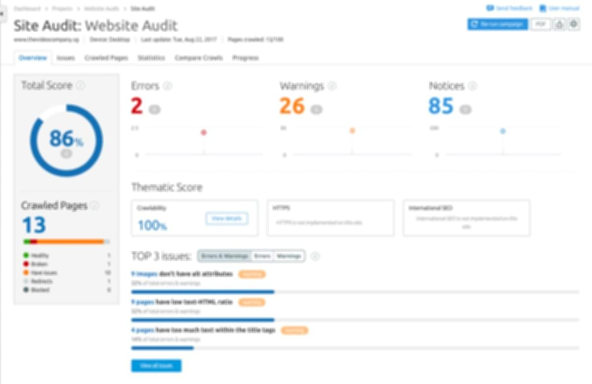 Free Website Audit and SEO Audit by TheVideoCompany.sg. We provide extensive report and tips why your website is not ranking and not Google-Friendly.