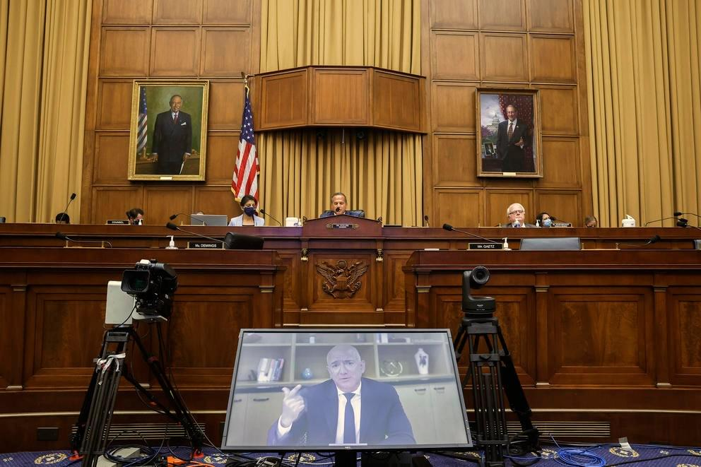 Amazon CEO Jeff Bezos speaks via videoconferencing during a House Judiciary subcommittee hearing on antitrust on Capitol Hill, July 29, 2020. (Graeme Jennings/AP)