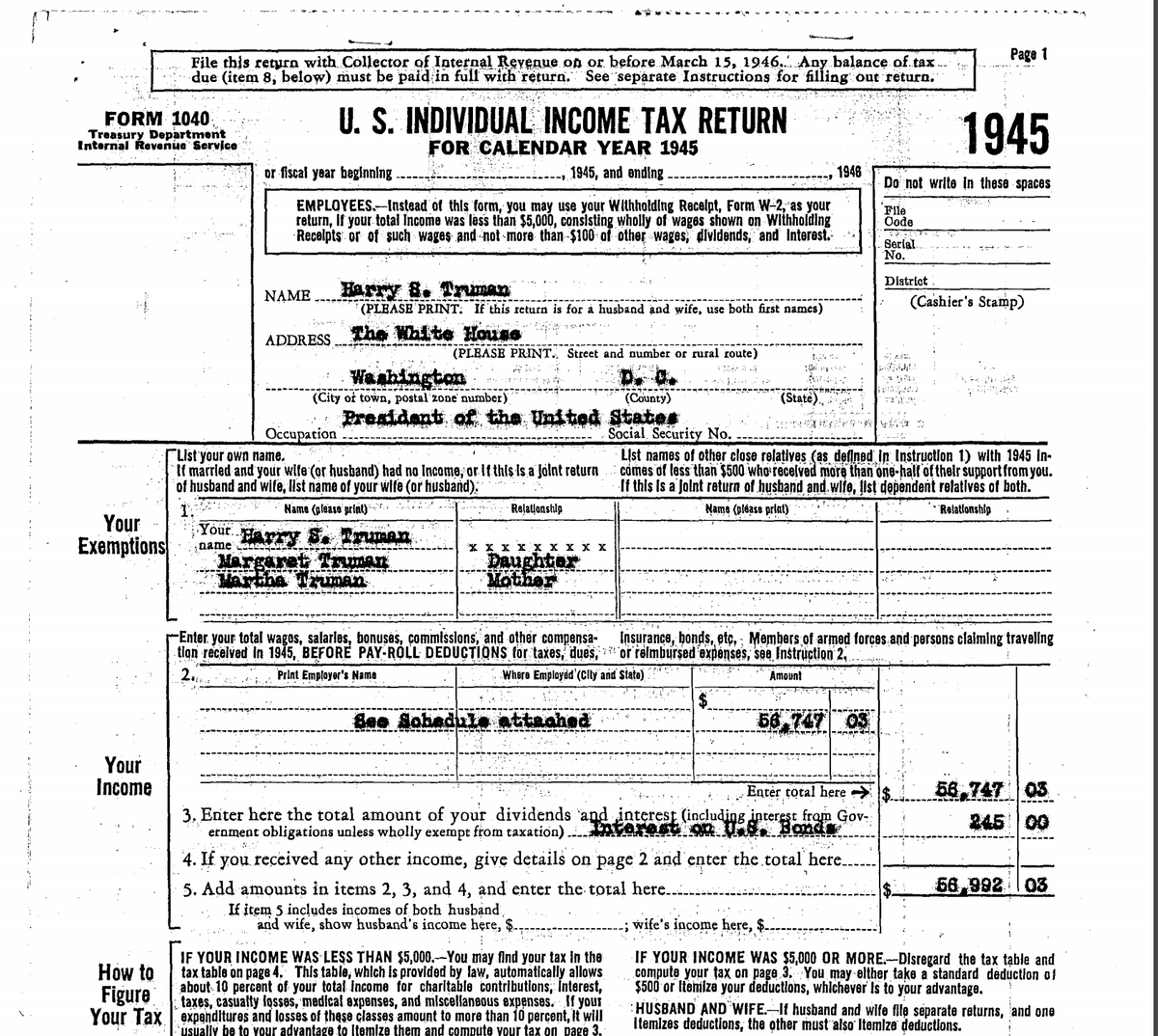 Harry Truman's 1945 tax return, p 1, Truman Library via TaxNotes.com