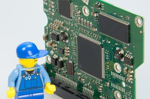 Mad Lego Man and Circuit Board