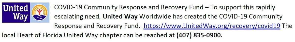 Link to United Way's Covid-19 Community Response and Recovery Fund