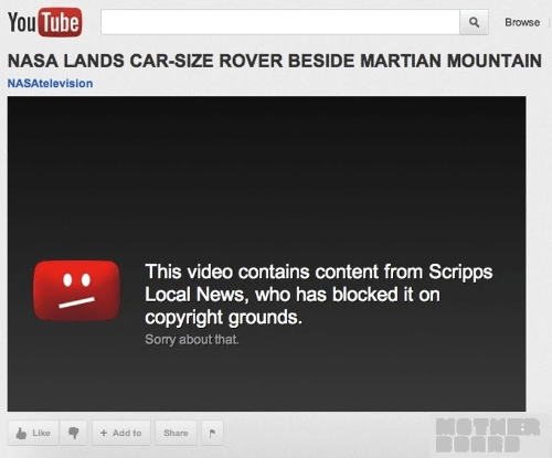 "screenshot of YouTube video from NASAtelevision titled ""NASA LANDS CAR-SIZE ROVER BESIDE MARTIAN MOUNTAIN"" with copyright takedown notice from YouTube replacing the video content"
