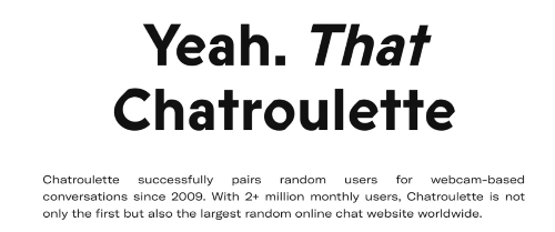 text 'Yeah. That Chatroulette' with description of the online chat website
