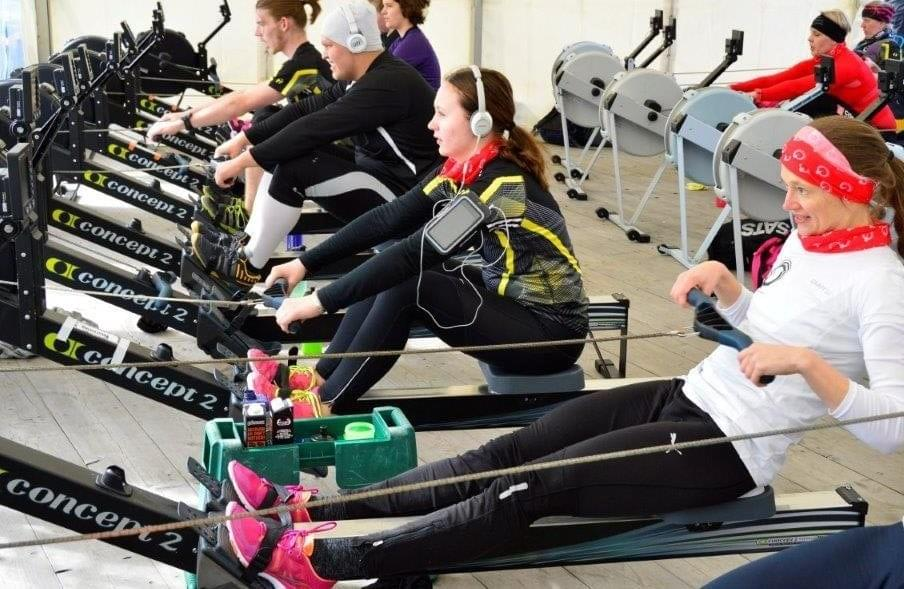 Drinks and gels can be placed on a small table next to the indoor rowing machine