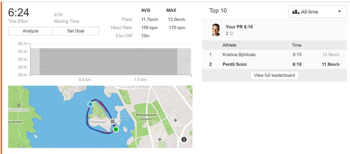 We created a strava segment of the rowing race route