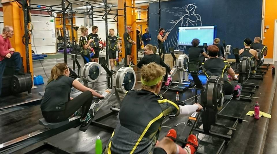 The CF Regatta is an Indoor Rowing Race of Mixed Teams on Concept2 on Slides