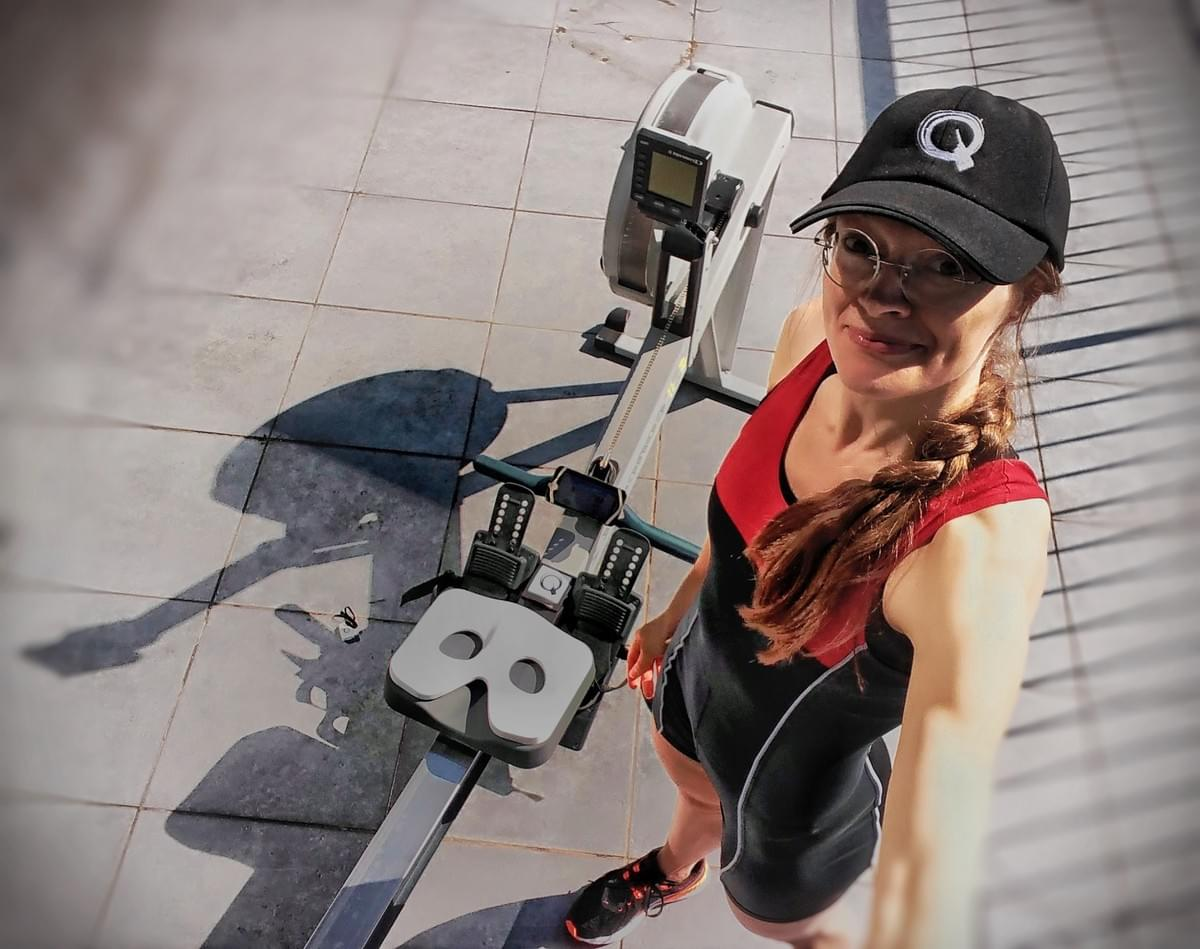 Kristina of Quiske Indoor rowing with the RowP App and ProW seat