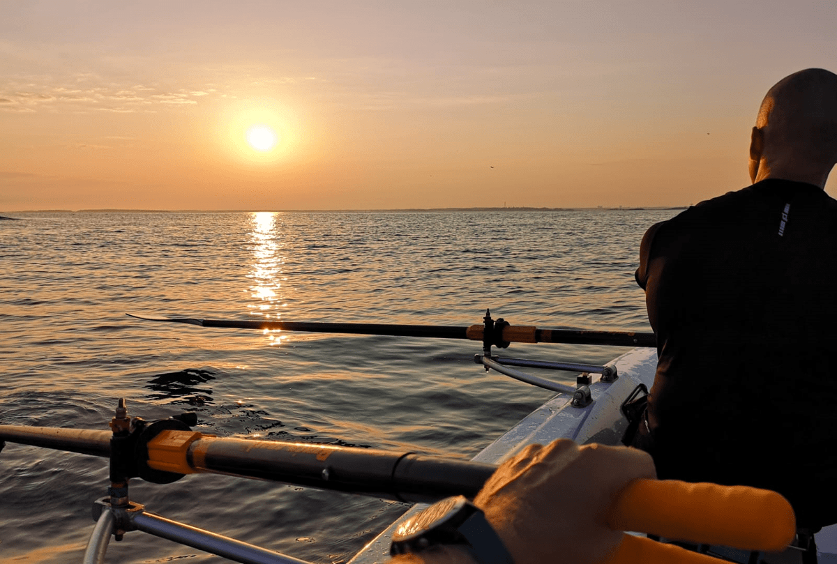 Sunset on the Baltic Sea as seen from a LeoCoastal rowing boat