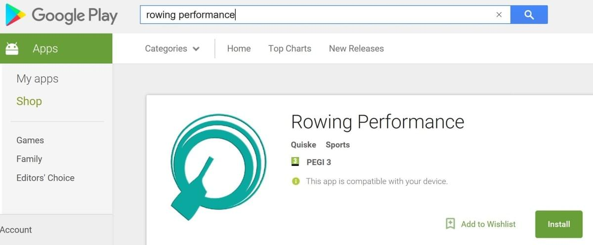 The Quiske Rowing Performance App is available on Android