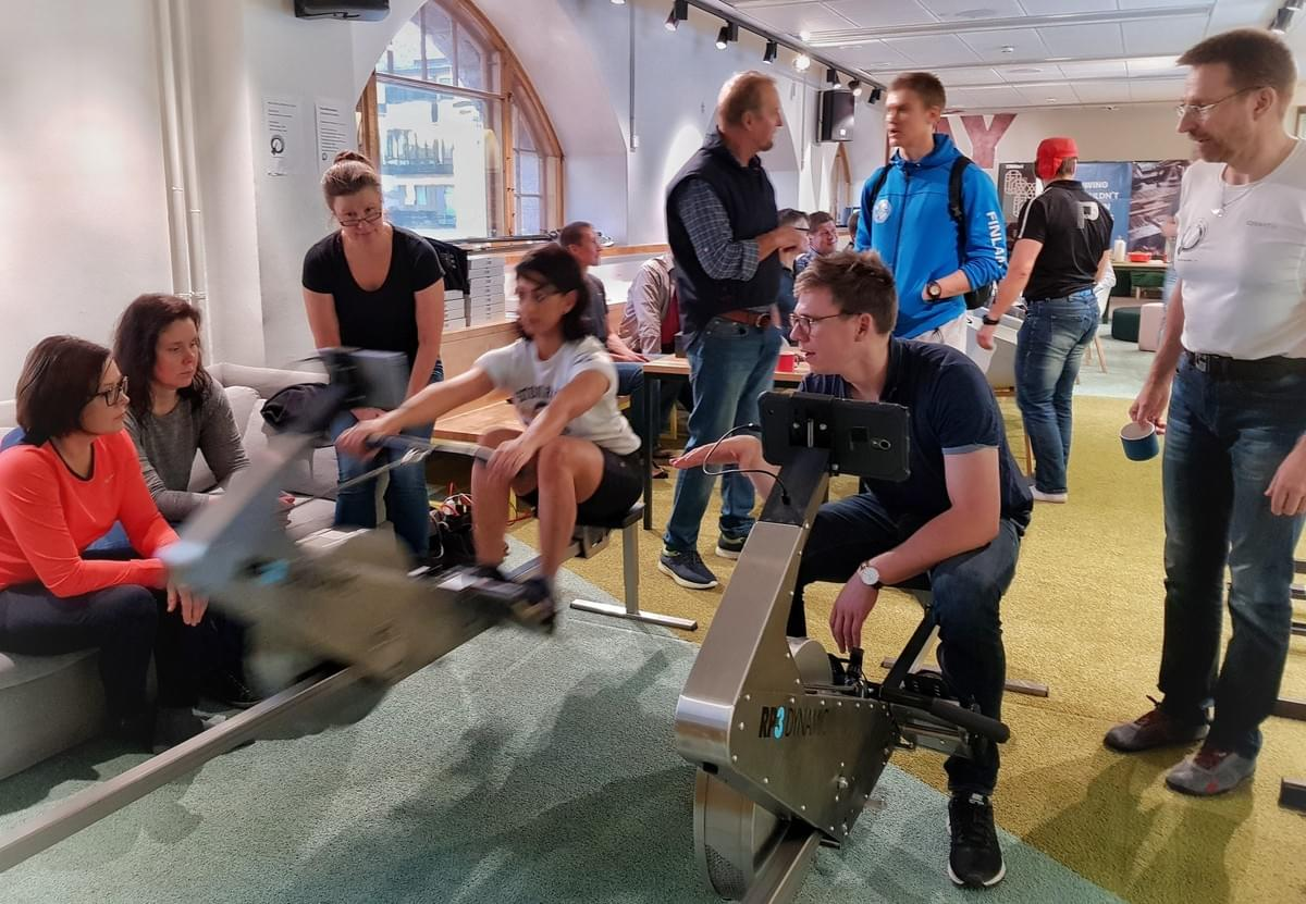 The Quiske Indoor Rowing workshop included a bit of spontaneous coaching by Jacob Barsoe
