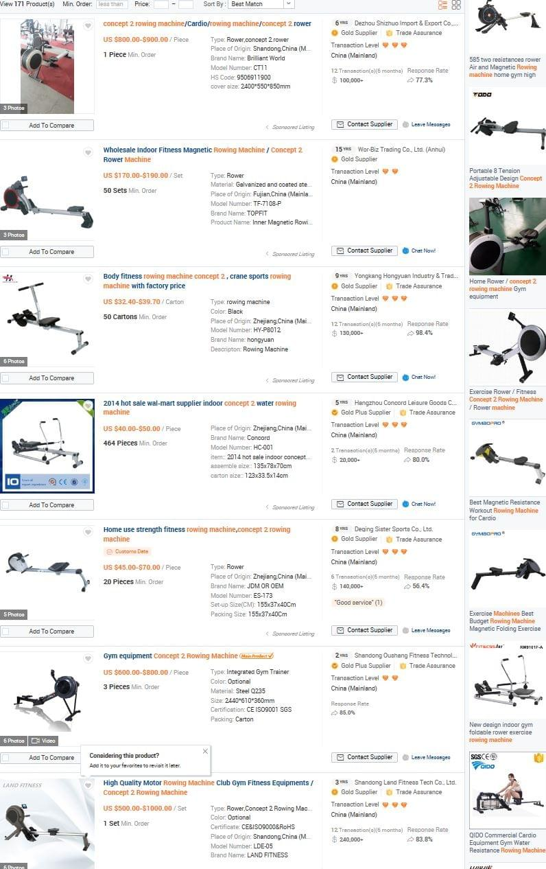 When searching for Concept 2 on Alibaba you get a plethora of different types of rowing machine