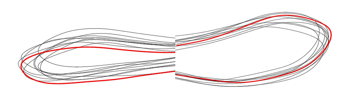 Kristina's (on the right side) and Pentti's (on the left) oar blade flight paths of a number of strokes shown side by side.