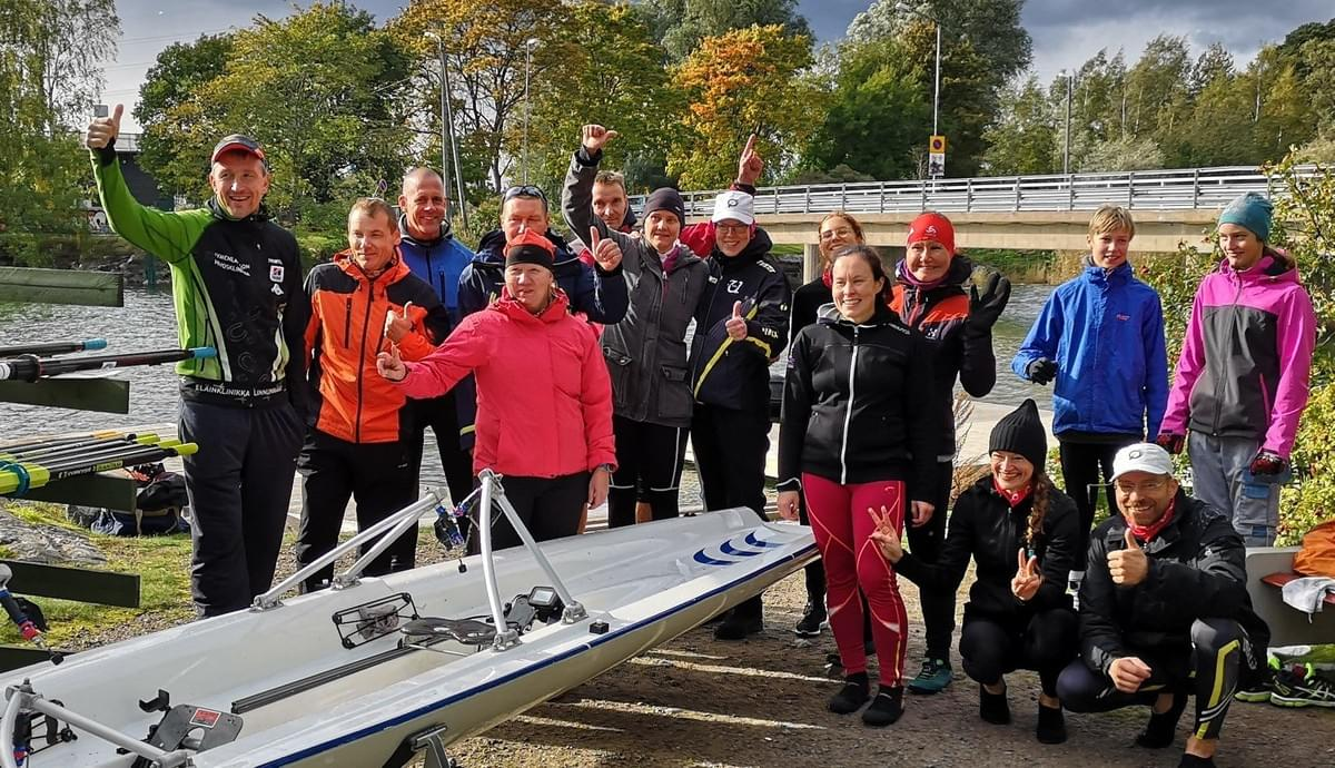 Finnish Coastal Rowing Championship rowers after the race 2018