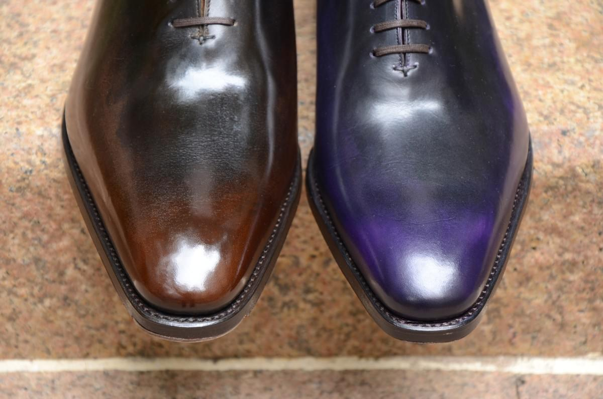 Barre & Brunel Footwear Alba in handmade aubergine and acajou patina.