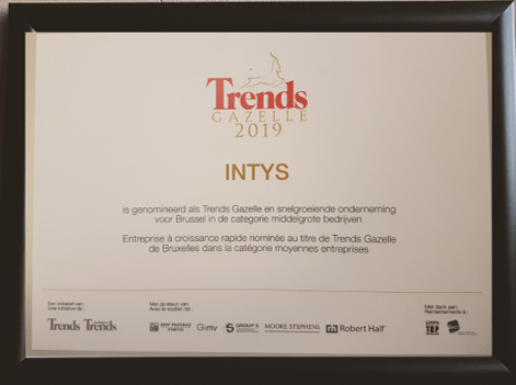 Intys has been nominated fast growing company - Trends Gazelle 2019