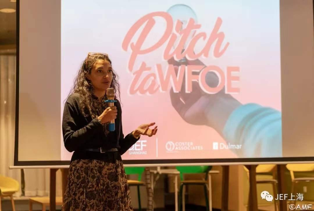 "Anne-Sophie Gauvin, JEF's president launching the ""PITCH TA WFOE"" competition."