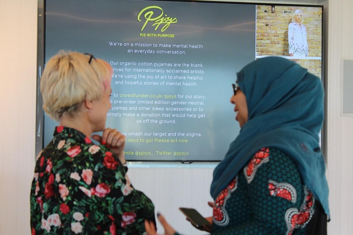 Zahra Ibrahim talking to Susie from Pjoys at the November Social Founder Forum 2018