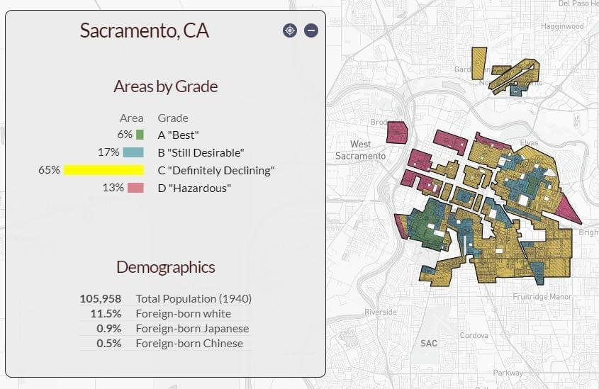 A redlining map of Sacramento, CA.
