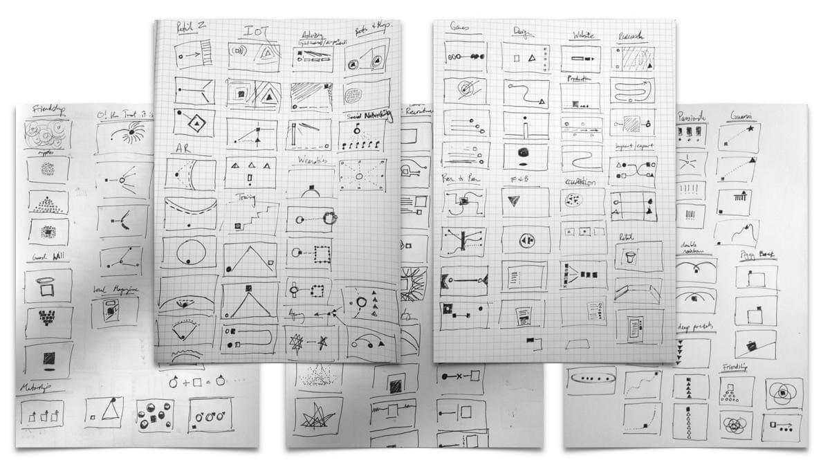 Early drafts of what each concept might look like (hundreds of drafts in total).