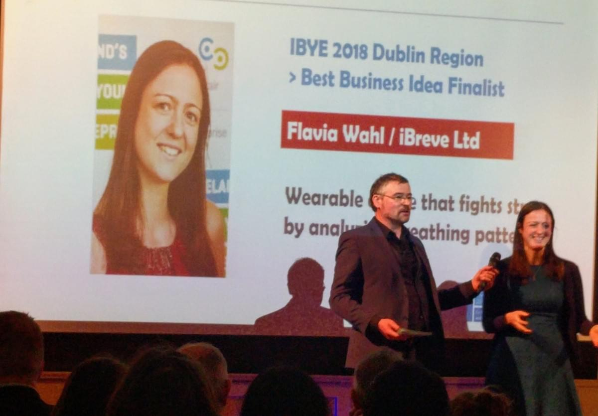Flavia from iBreve on stage awarded Ireland's Best Young Entrepreneur of the Year for Dublin City