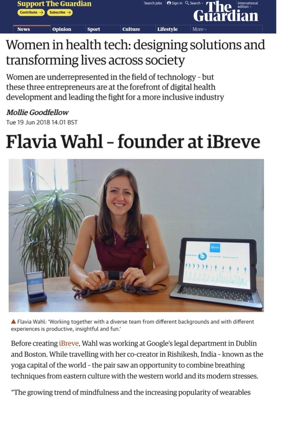 The Guardian interviews iBreve as part of the AXA Health Tech & You Awards in London