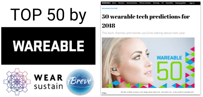 iBreve & WearSustain among top 50 wearable tech predictions for 2018 by wareable.com