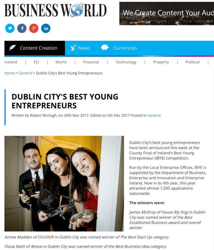 Business World reports about Flavia from iBreve awarded Ireland's Best Young Entrepreneur of the Year for Dublin City