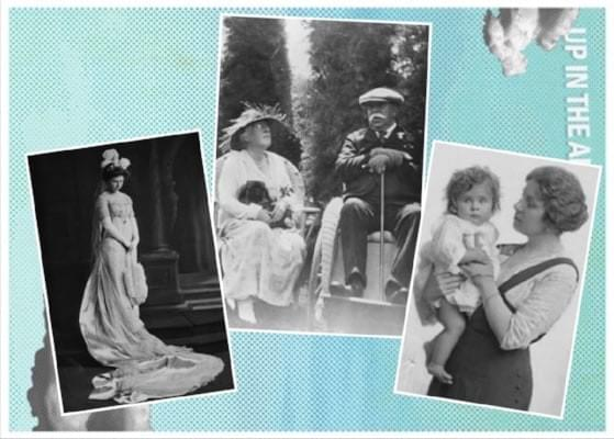Middle, William Bowers Bourn II & Agnes Moody Bourn .  Left,  Maud Bourn (Daughter of William Bowers Bourn II and Agnes Moody Bourn). Right,  Maude Bourn Vincent with daughter Elizabeth Rose Vincent (Rosie).
